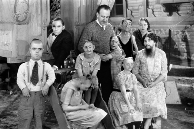 Tod Browning with cast members from his film Freaks
